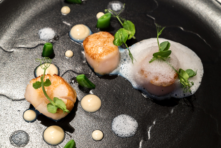 Grilled scallops with truffle ans culiflower sauce Stock Photo