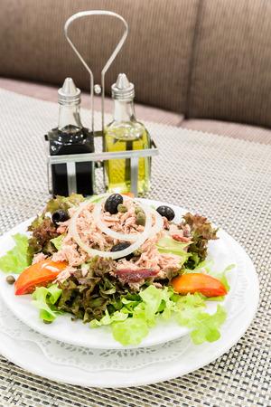 Tuna salad with fresh vegetable, mediterranean cuisine Stock Photo