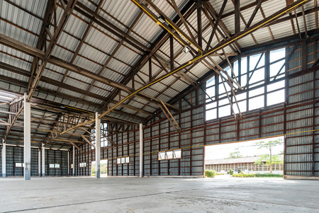 Empty old and rustic hangar building