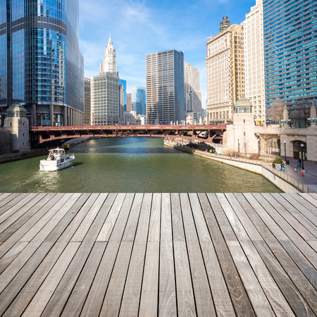 City of Chicago downtown and River with wooden terrace Stock Photo