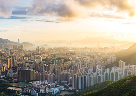 Hong Kong Skyline Kowloon from Fei Ngo Shan hill or Kowloon Viewing Point sunset panorama Stock Photo