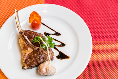 Grilled Lamb chop with garlic Stock Photo