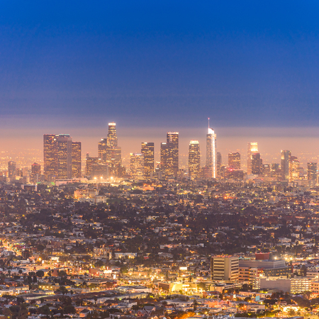 Los Angeles Downtown sunset aerial view, California, USA Stock Photo