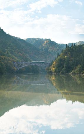 Autimn fall foliage Fukushima First Bridge View Point daiichi kyouryou in Mishima Fukushima Japan Banco de Imagens