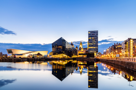Liverpool Skyline building at Pier head and alber dock at sunset dusk, Liverpool England UK. Stock Photo