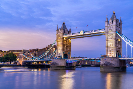 London Tower Bridge Sunset dusk, London UK. Stock Photo