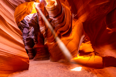 Upper Antelope Canyon in the Navajo Reservation near Page, Arizona USA 스톡 콘텐츠