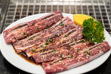 Raw premium wagyu beef rib for japanese yakiniku