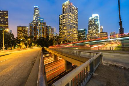 Los Angeles Downtown Sunset, LA California, USA Banco de Imagens