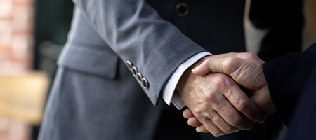 Handshake for Business deal Business Mergers and acquisitions Closeup web banner crop