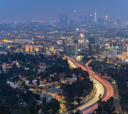 Aerial Los Angeles Cityscape Sunset, LA California, USA