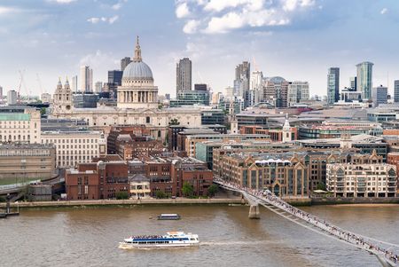 St paul cathedral with millennium bridge London UK. Aerial View