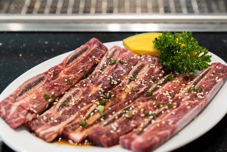 Raw premium wagyu beef rib for japanese yakiniku