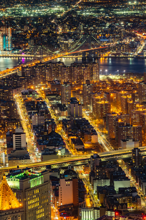 Aerial view of Manhattan bridge with Lower Manhattan in New York City, New York State NY , USA