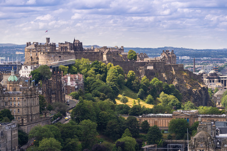 Edinburgh Castle with Cityscape from Calton Hill, Edinburgh, Scotland UK