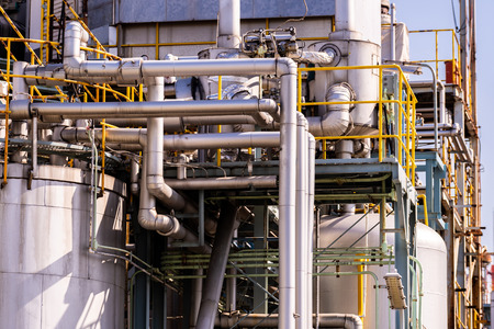 Structure of pipeline of oil chemical plant factory in Kawasaki Japan. Stock Photo