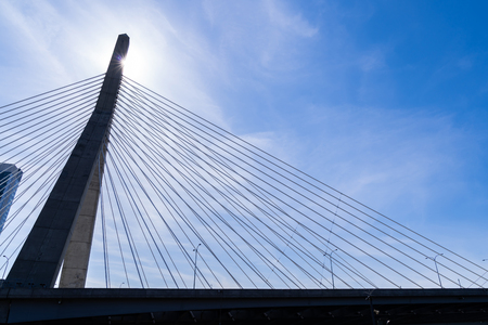 Boston Zakim bridge at Boston downtown MA USA