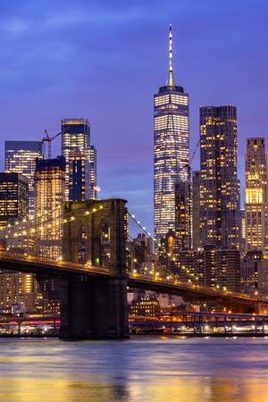 Brooklyn bridge with Lower Manhattan skyscrapers bulding for New York City in New York State NY , USA