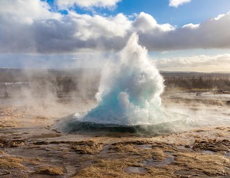 strokkur geysir hot spring Eruption in golden circle  Iceland.