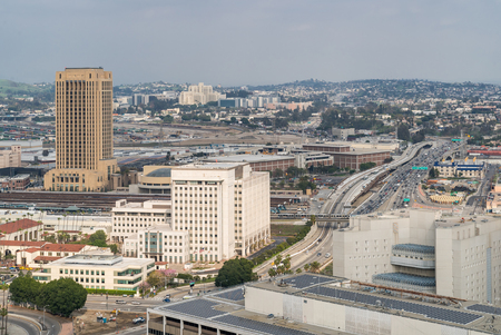 Aerial Los Angeles downtown skyscrapes in Los Angeles Californai USA