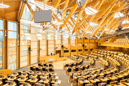 Interior of Scottish Parliament Building Edinburgh Royal mile Scotland UK