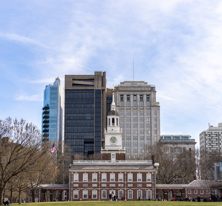 Independence Hall in Philadelphia Pennsylvania USA with Philadelphia cityscape skyline building