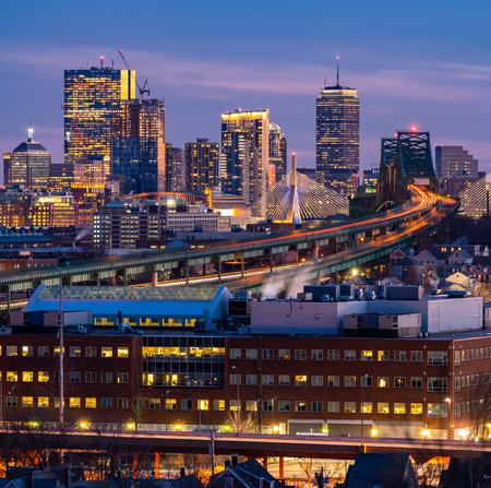 Boston Cityscape with highway trail to Boston MA USA at night. Banco de Imagens