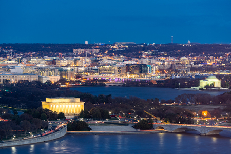 Aerial view of Washington DC cityscape from Arlington Virginia USA.