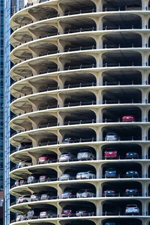 Exterior of parking lot building skylines in Chicago IL USA