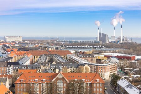 Aerial view of Copenhagen cityscape downtown