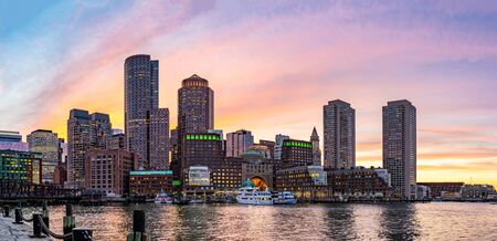 Panorama of Boston Downtown skylines building cityscape sunset at Boston city, MA, USA.
