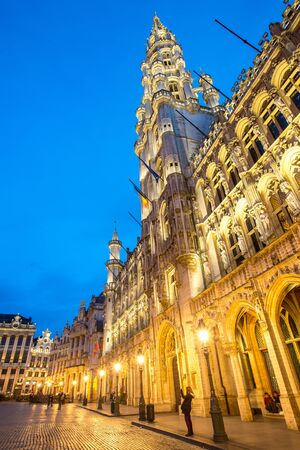 Grand Place square in Brussels Belgium, the most beautiful square in thw world, at suset twilight.