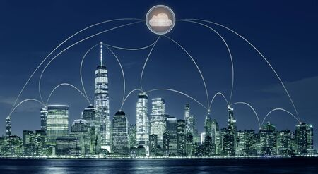 New York city cityscape with cloud computing technology concept