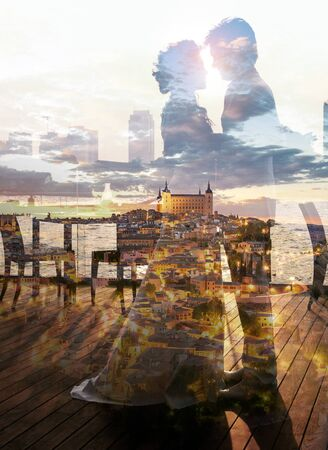 Double exposure of romantic couple wedding scene with beautiful and romantic city in europe Reklamní fotografie