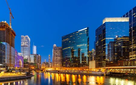 Panorama shot of City of Chicago downtown and Chicago River sunset night in Chicago Illinois USA. Reklamní fotografie