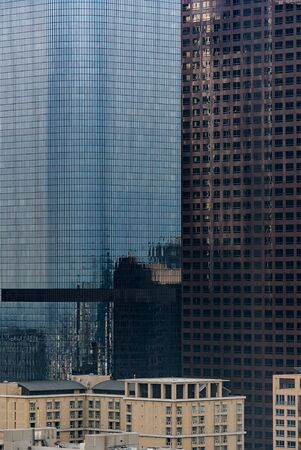 Urban abstract - window facade of business center office building with reflections and colours. Los Angeles CA USA. Banco de Imagens