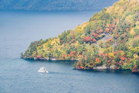 aerial view of Autumn fall mountain with Lake towada in Aomori Tohoku Japan