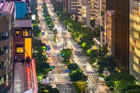 Aerial view of Fukuoka cityscape downtown at Hakata. Hakata is main area of Fukuoka transport such as train port and airport.