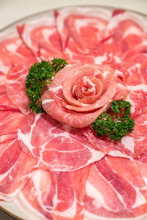 Raw Beef meat set ready to cook Shabu shabu and sukiyaki