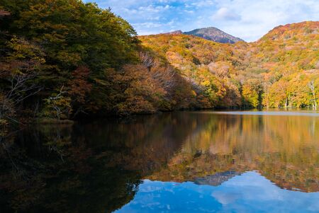 Autumn Fall Lake with reflection in Aomori Tohoku Japan