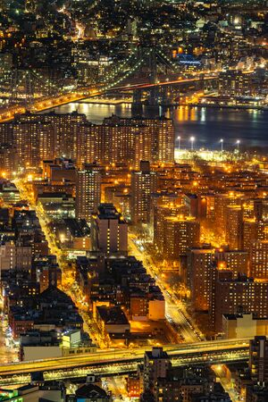 Aerial view of Manhattan bridge with Lower Manhattan in New York City, New York State NY , USA