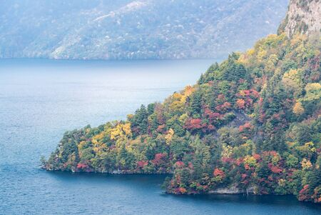 aerial view of Autumn fall mountain with Lake towada in Aomori Tohoku Japan