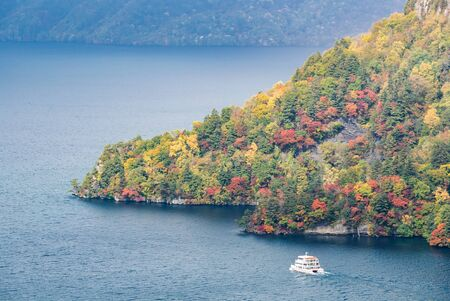 aerial view of Autumn fall mountain with Lake towada in Aomori Tohoku Japan Stock Photo