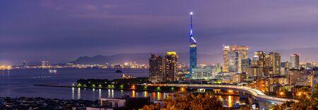 Panorama Fukuoka tower sunset twilight with downtown cityscape in Fukuoka city Kyushu South of Japan