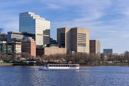 Boston Downtown cityscape along Charles River with skylines building at Boston city, MA, USA.
