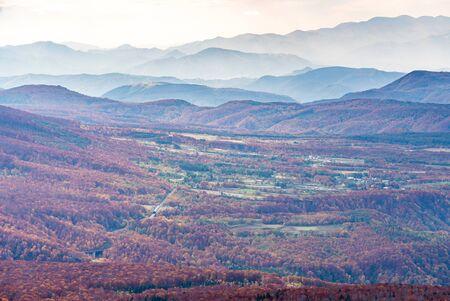 Aerial view of red leaf autumn fall season for Forest wodland From Hakkoda Mountain in Aomori Tohoku Japan