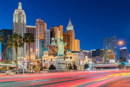 Las Vegas strip cityscape in Nevada sunset USA Stock Photo
