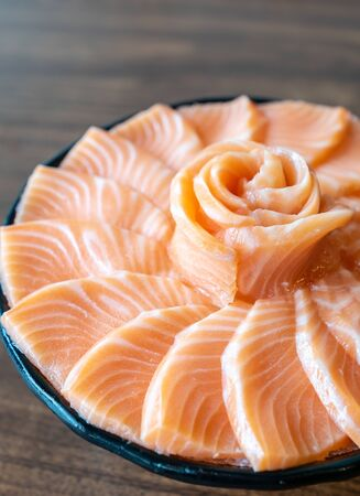 Salmon Sashimi set, gourmet japanese freshness cuisine Imagens