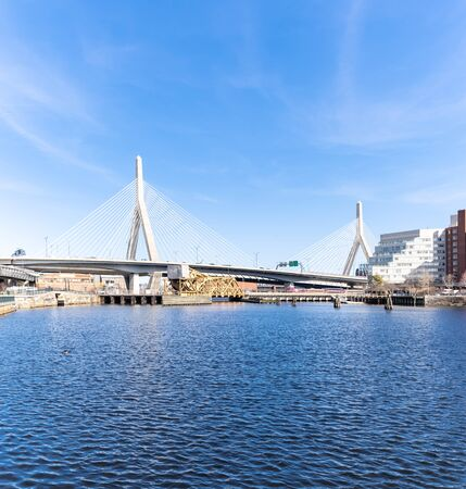square crop of Boston Zakim bridge at Boston downtown MA USA