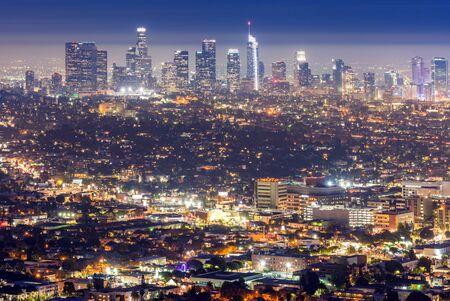Los Angeles Downtown sunset aerial view, California, USA Banco de Imagens